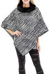 Faux Fur Cuffed Round Neck Color Weaved Throw Over Poncho