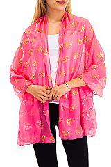 Flamingo All Print and Rhinestone Layered Semi Sheer Shawl Scarves
