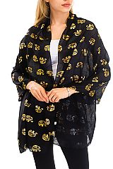 Gold Ethic Elephant All Print Semi Sheer Shawl Scarves