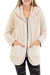 Casual Hooded and Plush Textured Fur Sweater