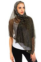 Metallic Colored and Rhinestone Semi Shear Cover Up Scarves