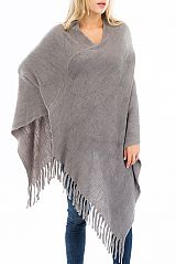 Casually Chic Chunky Fringed Simplistic V Cut Poncho
