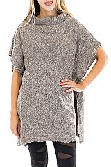 Semi Turtlenecked Short Sleeved Tunic Top Poncho