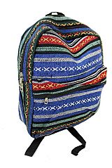 Petite Striped Aztec Print Dome Zip Closure Backpack