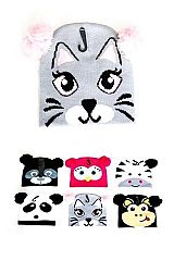 Zoology Animal Printed Double Ear Pom pom Beanies