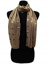 Jersey Fabric with Rhombus Gold Studs Super Softness Scarf