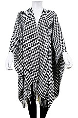 Hound tooth Checkered Pattern Knitted Softness BIG shawl Poncho