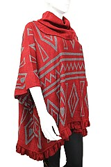 Geometric Pattern with Turtle Neck Design Warm Design Poncho & Ruffled Bottom