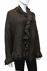 Thick Cashmere Feel Double Ruffled Border Big Size Poncho