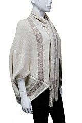 Cashmere feel Shinny Accent with Scarf design Poncho