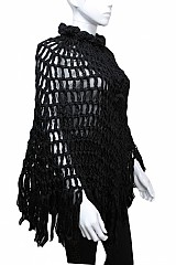 Hand-Crochet Knit Netted Poncho With Adjustable Neck Drawstring & Flower Detail