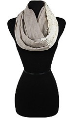 Block Soft Color With Lace Accent Infinity Scarves