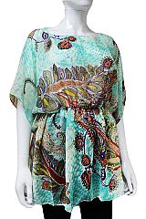 Majestic Paisley And Floral Abstract Printed Slouchy Tunic Tops