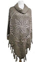 Pinwheel Lace Design with Hard Knitted Turtleneck Poncho