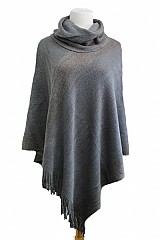 Tinsel Accent with Turtle Neck Warmer Cashmere Feel Poncho