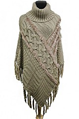 Knit Ribbed Poncho With Plush Fur Accented with Turtle Neck Poncho