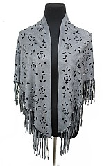 Butter-Soft Vegan Suede Fringe Shawl With Floral Cutout