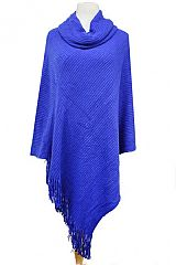 Cowl Neck Ribbed Patterned Softness Poncho