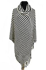 Cowl Neck Stripe Design Knitted Big Poncho