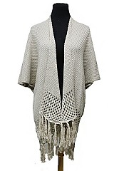 Thick chic Open Silhouette Draped Fringed Poncho