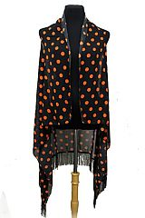 Polka dot Design with Long Fringe Chiffon Fabric Cardigan