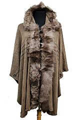 Aztec Pattern Faux Fur Softness Knitted Long Sleeve Hooded with Button Design
