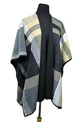 Block Checked Pattern Super Softness Thick Cape