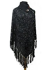 Cowl Style Sequins Wave Hole Knitted with Wooden Button Design  Neck Thick Soft Poncho