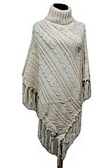 Cable Pattern Thick Hard Knitted Turtle Neck Design with Fringe Poncho