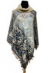 Turtle Neck Floral Gypsy Printed Textured Softness Fabric Poncho