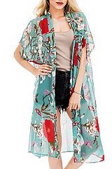 Bold Red Hibiscus with Blue Butterfly Long Sheer Kimono