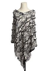 Rattle Snake Skin Print Diagonal Faux Fur Accented Fringed Knit Throw Over V-Neck Poncho