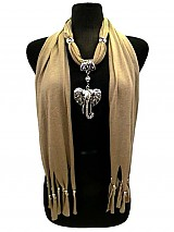 Jersey Soft Elephant Pendant Jewell Scarves