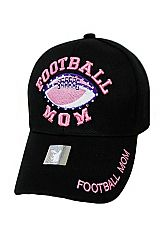 Football Mom Embroidered With Minimal Stone Design Baseball Cap