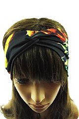 Pineapple Print Boho Chic Twist Turban Front Headband