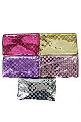 Metallic Glossy Designer Styled Flat Pouch Wallet Bags