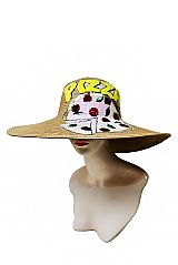 Tomato and Basil Cheese Pizza Sequins Patched Soft and Floppy Toyo Straw Sun Hat
