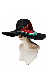 Over Sized Watermelon Slice Sequins Patched Floppy Toyo Straw Sun Hat