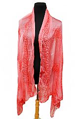 Floral Patterned Semi Sheer Viscose Felt Scarves