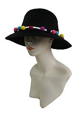 Fashion Bucket Style Colorful Pom Pom Boho Vibe Sun Hat