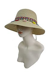Fashion Bucket Style Colorful Native Pattern  with Colors Tassels Suede Band Sun Hat