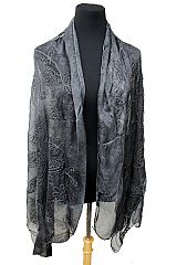 Paisley Patterned Semi Sheer Viscose Felt Scarves