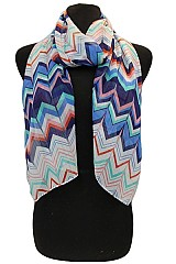 Chevron Multicolored Sheer Scarves