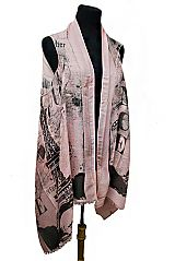 Europe Tour Print Design Semi Sheer Sleeveless Cardigan Style