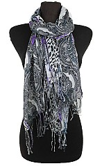 Paisley Pattern scarves with Fringe.