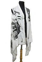 Sight Seers Roman Forum Colosseum Print Design Semi Sheer Sleeveless Cardigan Style