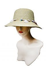 Sea Shell Decorated String Banded Hash Colored Bucket Styled Toyo Straw Sun Hat