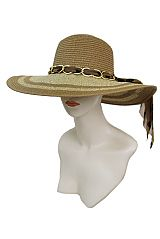 Striped Fashion Floppy Tinsel Accent polka dot Gold Chain Bow Band Sun Hat