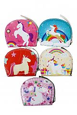 Animated Cartoon-Like Unicorn Printed, Glossed, and Polished Two-Pocketed Clam Shaped Wallet with Ha