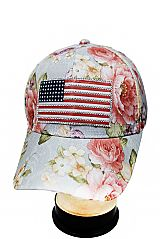 Swarovski Inspired Rhinestone Embedded Silicon American Flag Patched and Peonies Floral Printed Base